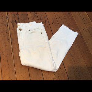 EUC J CREW Womens 26 White Jeans MATCHSTICK CROP